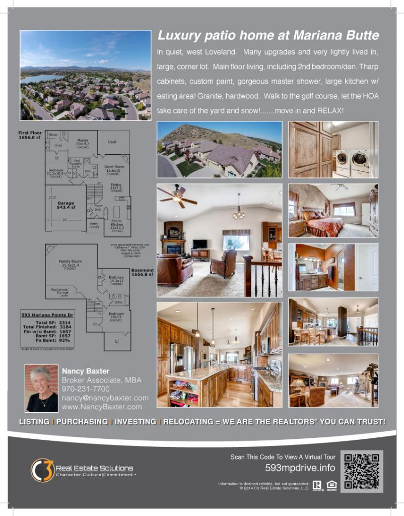 593 Mariana Pointe, Loveland Colorado, sold by Nancy Baxter, REALTOR for C3 Real Estate Solutions
